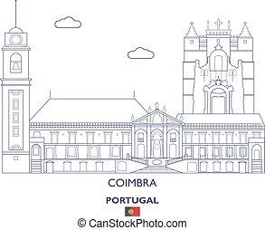 város égvonal, coimbra, lineáris, portugália