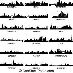 város, égvonal, európai