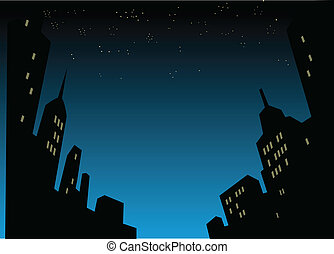 város égvonal, háttér, éjszaka