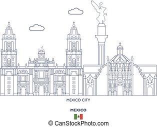 város égvonal, lineáris, mexikó
