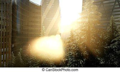 város égvonal, london, napnyugta