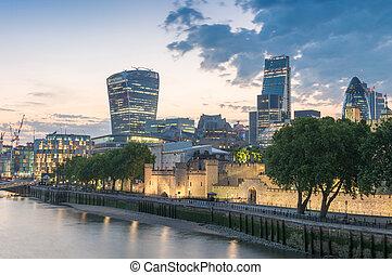 város égvonal, -, napnyugta, london
