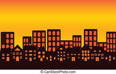 város égvonal, napnyugta