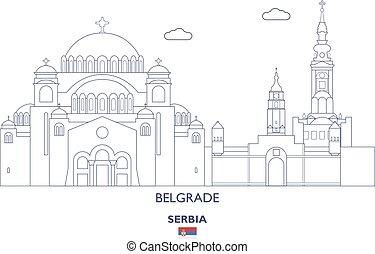 város égvonal, szerbia, lineáris, belgrád