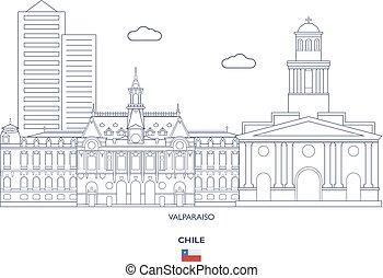 város égvonal, valparaiso, lineáris, chile