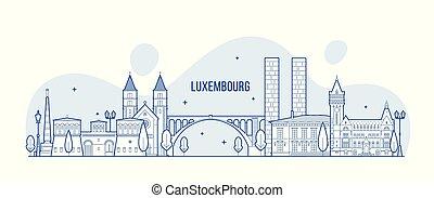 város égvonal, vektor, épületek, luxemburg