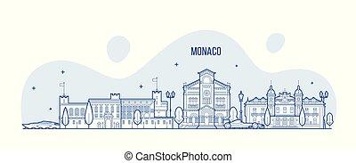 város égvonal, vektor, épületek, monaco