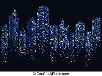 város égvonal, vektor, tervezés, ábra