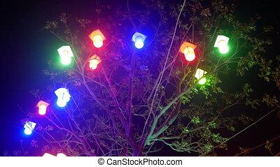 város, éjszaka, liget, világító