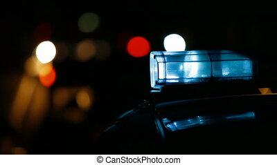 város, éjszaka, rendőrség, út, autó