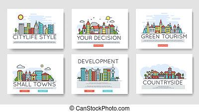 város, épületek, állhatatos, égvonal, külvárosi, különböző, ábra, vektor, tervezés, híg, skyline., egyenes, concept.