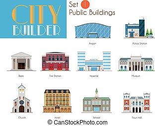 város, épületek, állhatatos, városi, építő, 1:, közönség
