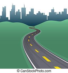 város, épületek, ív, láthatár, út, autóút