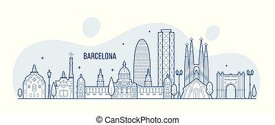 város, épületek, barcelona, láthatár, vektor, spanyolország