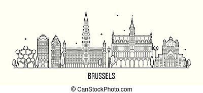 város, épületek, brussel, láthatár, vektor, belgium
