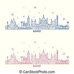 város, épületek, budapest, láthatár, vektor, magyarország