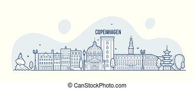 város, épületek, dánia, láthatár, vektor, koppenhága