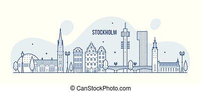 város, épületek, láthatár, svédország, vektor, stockholm