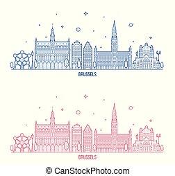 város, épületek, láthatár, vektor, belgium, brüsszel