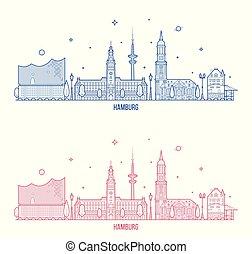 város, épületek, láthatár, vektor, németország, hamburg
