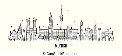 város, épületek, münchen, vektor, németország, láthatár