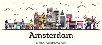 város, épületek, németalföld, áttekintés, szín, elszigetelt, láthatár, white., amszterdam