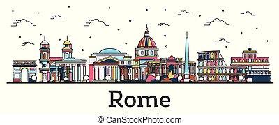 város, épületek, olaszország, áttekintés, szín, elszigetelt, láthatár, róma, white.
