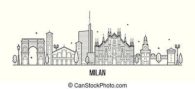 város, épületek, olaszország, kánya, láthatár, vektor