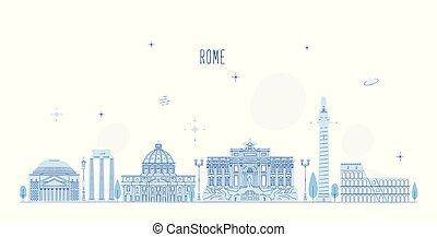 város, épületek, olaszország, róma, láthatár, vektor