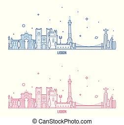 város, épületek, portugália, láthatár, vektor, lisszabon