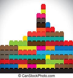 város, épületek, színes, fővárosi, láthatár, tömb, épít