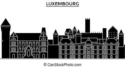 város, épületek, utazás, nevezetességek, elszigetelt, luxemburg, iránypont, vektor, építészet, háttér, cityscape, láthatár