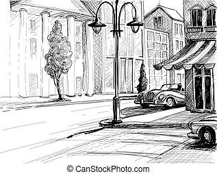 város, épületek, vektor, öreg, ábra, autók, skicc, mód, ceruza, dolgozat, utca, retro