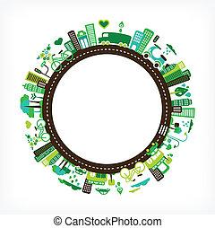 város, ökológia, -, környezet, zöld, karika