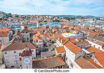 város, öreg, trogir, velencei, adriai, horvátország, tenger