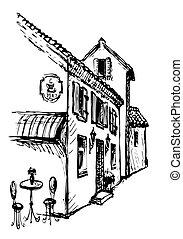 város, öreg, vektor, utca., kávéház, rajz