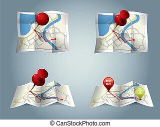 város, útvonal, gps, térkép, ikonok