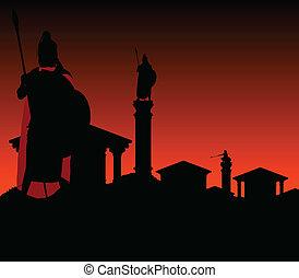 város, ősi, gyám