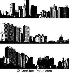 város, 3, vektor, égvonal