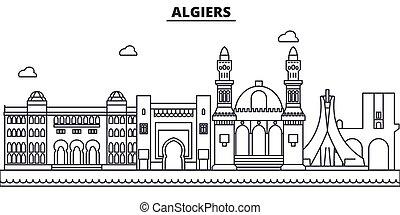 város, algír, illustration., lineáris, evez, editable, wtih, icons., iránypont, híres, láthatár, vektor, tervezés, nevezetességek, cityscape, egyenes, parkosít építészet