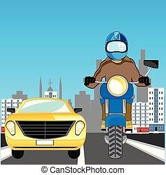 város, autó, út, motorkerékpár, jár
