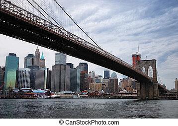 város, bridzs, brooklyn, láthatár, york, új