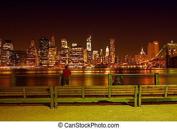 város, bridzs, láthatár, brooklyn, park., york, éjszaka, új, summer., manhattan, kilátás