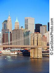 város, bridzs, láthatár, brooklyn, york, új, manhattan