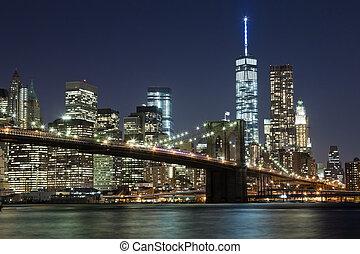 város, bridzs, láthatár, brooklyn, york, nyugat, új