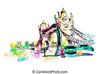 város, bridzs, skicc, vízfestmény, london, bástya, festmény