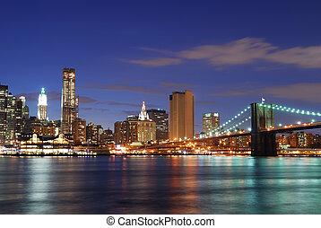 város, brooklyn, york, új, manhattan, bridzs