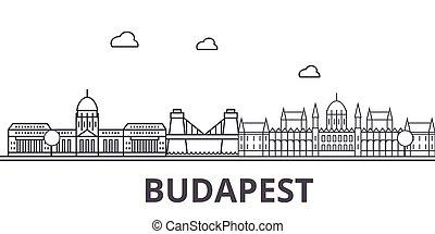 város, budapest, illustration., lineáris, evez, editable, wtih, icons., iránypont, híres, láthatár, vektor, tervezés, nevezetességek, cityscape, egyenes, parkosít építészet