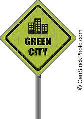 város, cégtábla., zöld, út