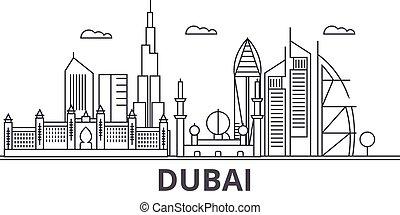 város, dubai, illustration., lineáris, evez, editable, wtih, icons., iránypont, híres, láthatár, vektor, tervezés, nevezetességek, cityscape, egyenes, parkosít építészet